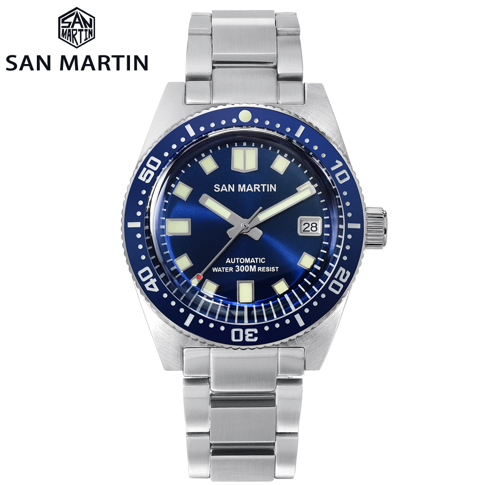 San Martin 62MAS Sapphire Diver Watch Stainless Steel NH35 Automatic Men Mechanical Watches Date Sunray 300M Waterproof Luminous