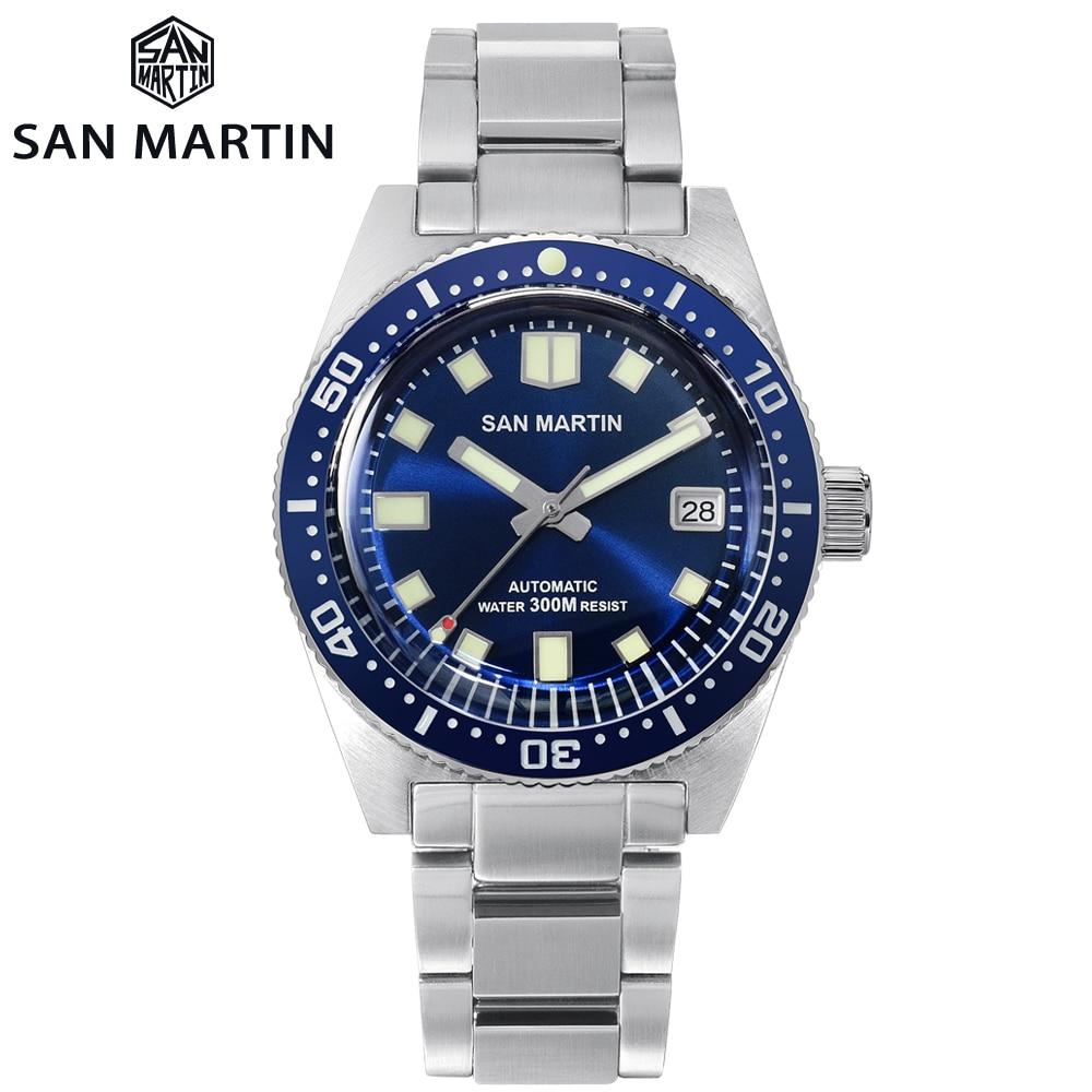 San Martin 62MAS Sapphire Diver Watch Stainless Steel NH35 Automatic Men Mechanical Watches Date Sunray 300M Waterproof Luminous