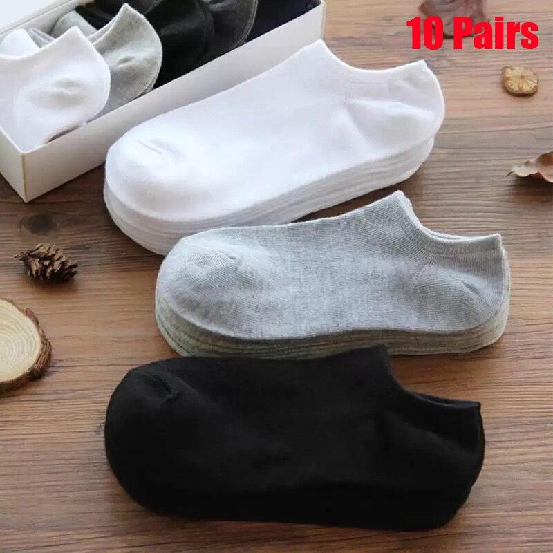 10 Pairs Women Socks Breathable Sports Socks Solid Color Boat Socks Comfortable Cotton Ankle Socks White Black Blend