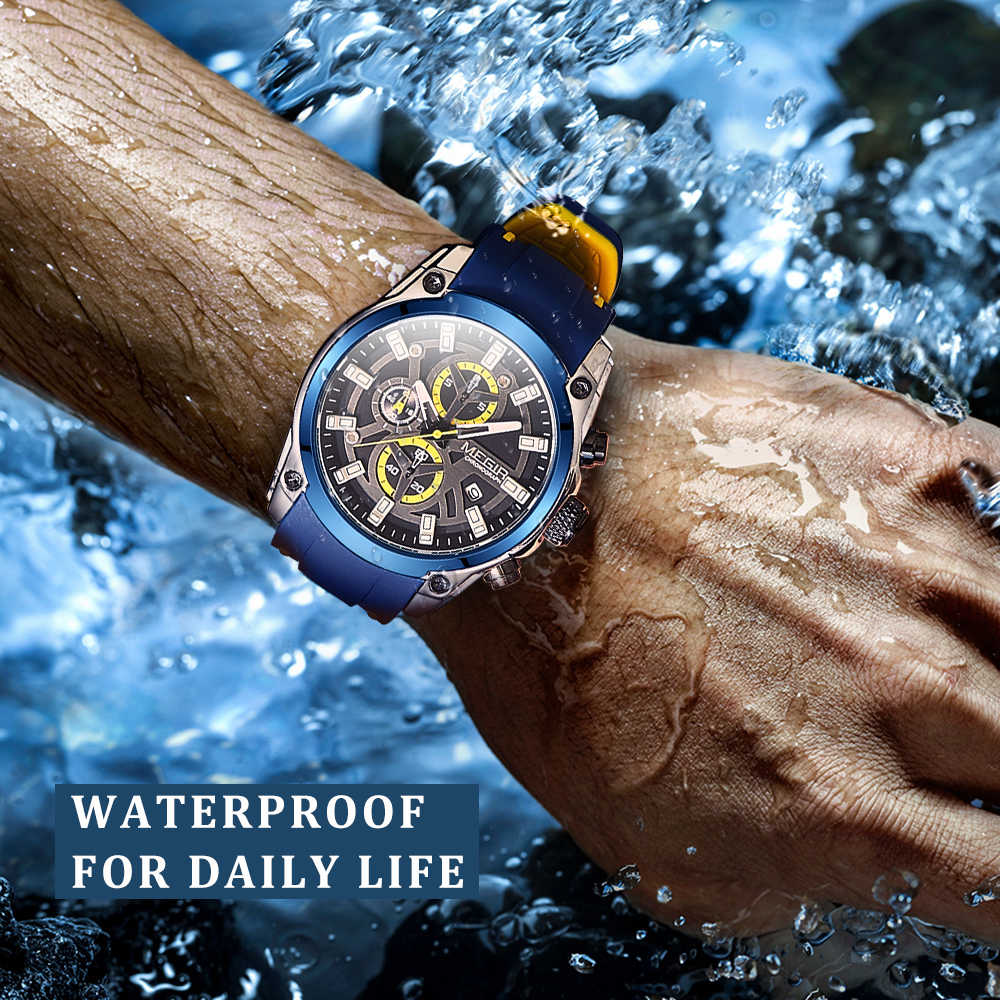 Megir 2020 Blauw Sport Horloges Voor Mannen Top Brand Luxe Chronograaf Man Horloge Militaire Quartz Klokken Lichtgevende Relogio Masculino