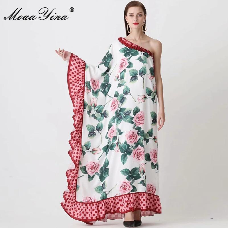 Женское платье на одно плечо MoaaYina, весеннее Ассиметричное платье с цветочным принтом и каскадными оборками, вечерние платья Макси Платья      АлиЭкспресс