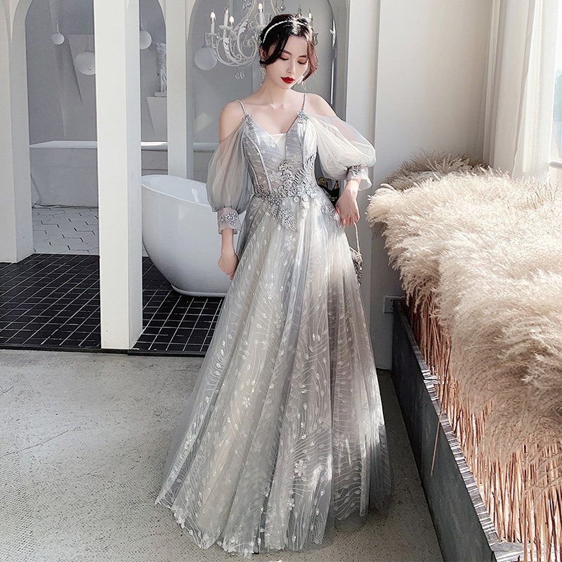 Bridesmaid Dresses Gray Appliques Sequin Wedding Guest Dress Sexy V-Neck Sleeveless Vestidos Floor Length Elegant Gowns R070