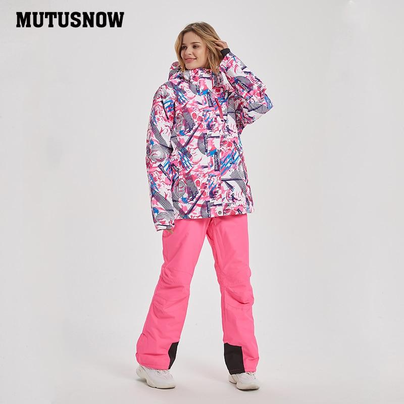 Mutusnow 2019 New Thicken Warm Ski Suit Men Women Winter FemaleBreat Windproof Waterproof Skiing Snowboarding Jacket Pants Suit