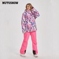 Mutusnow 2020 New Thicken Warm Ski Suit Men Women Winter FemaleBreat Windproof Waterproof Skiing Snowboarding Jacket Pants Suit