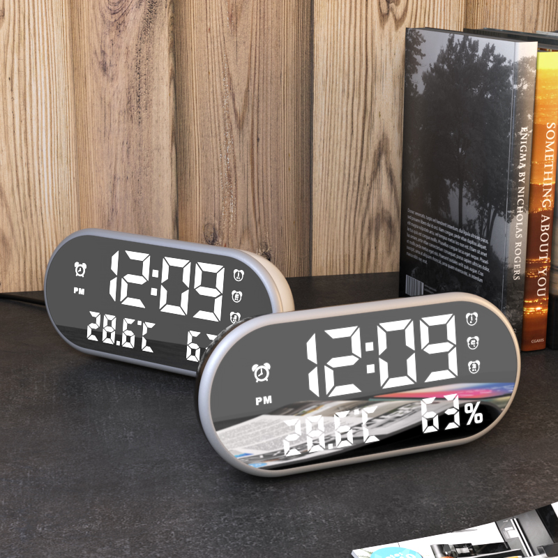 Electronic Mirror Alarm Clock with LED Display and Backlight for Desk Along with Temperature and Humidity Display 3