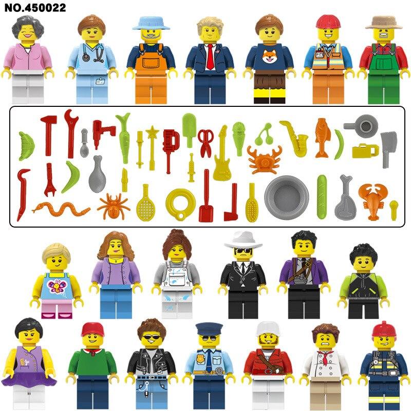 20pcs LegoINGlys City People Mini Figures Building Blocks Learning Bricks Girl Friends Diy Toys For Children Gifts