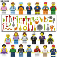 20pcs LegoINGlys City People Mini Figures Building Blocks Learning Bricks Girl Friends Diy Toys for Children Gifts