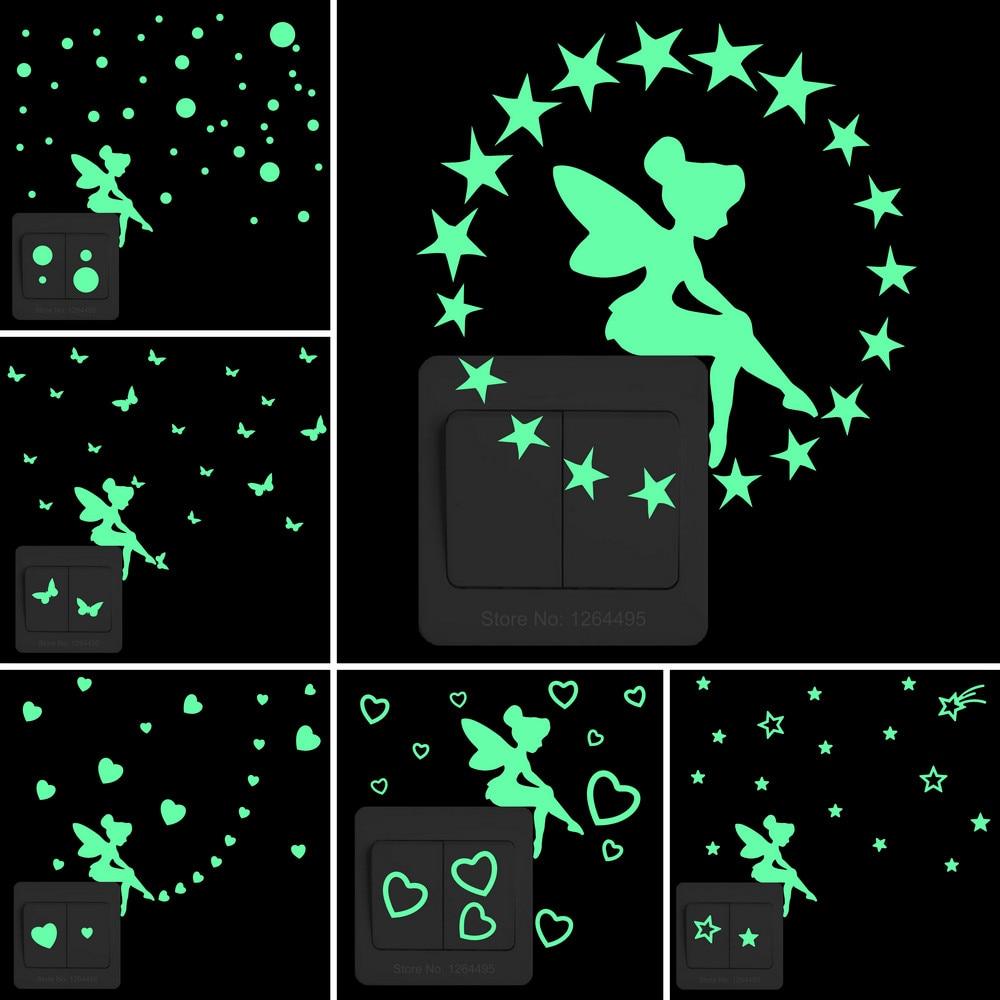 Kids Wall Sticker Fairy Luminous Stickers Baby Room Children Bedroom Home Decor Stickers Kitchen Bathroom Glow Switch Decoration