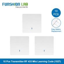FUNSHION 10pcs 433MHz Universal Wireless Remote Control 86 Wall Panel RF Transmitter Receiver 1 2 3 Button For Home Light Switch
