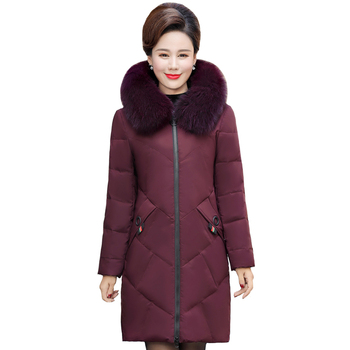 2020 Real Fox Fur Collar Winter Coat Women Long Parkas Solid Thicken Warm Winter Down Jacket Women Long Coat Plus Size 5XL image