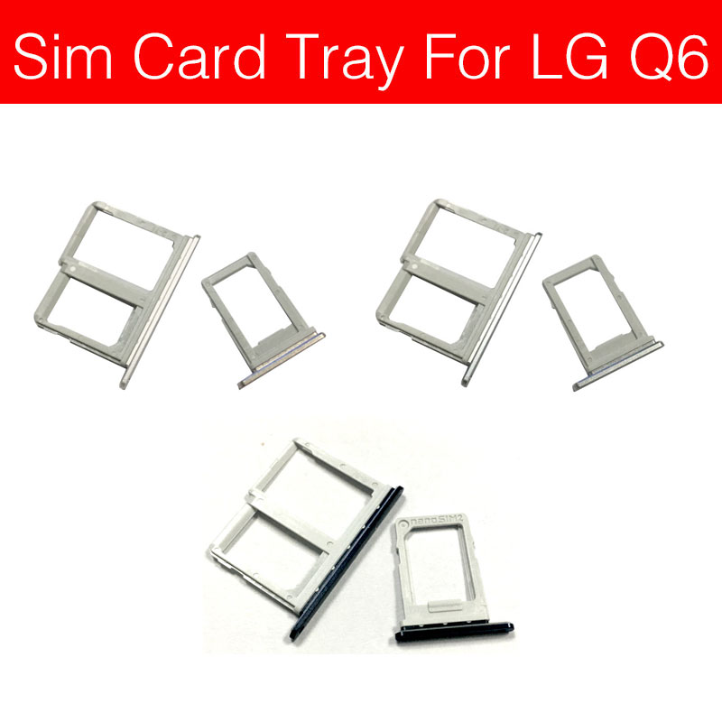 Singal & Dual Sim Card Slot Tray Holder For LG Q6 LG-M700A M700A Sim SD Card Adapter Flex Cable Cell Phone Replacement Repair