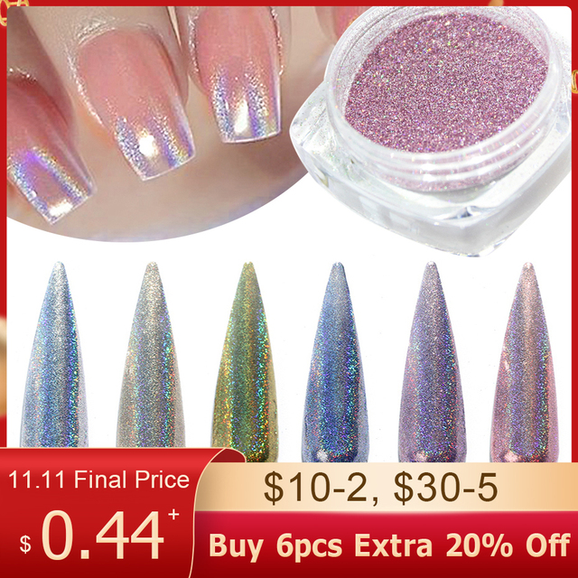 1g/bottle Holographic Glitter Nail Art Pigment Powder Shining Laser Dipping Spangles Chrome Mirror Nail Polish Dust BE1028 1