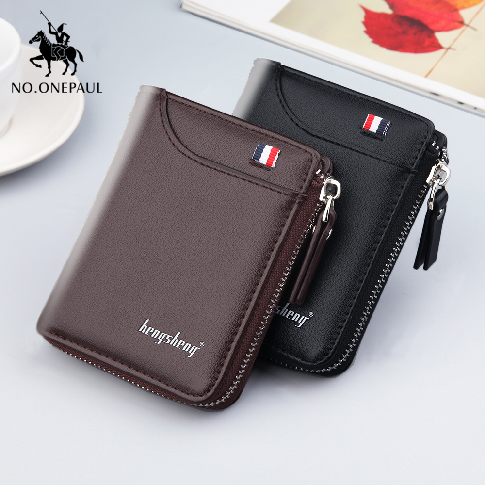 NO.ONEPAUL Men Wallets Genuine Leather Short Fashion Coin Purses Credit Card Holder Retro  Business Purses Men Free Shipping
