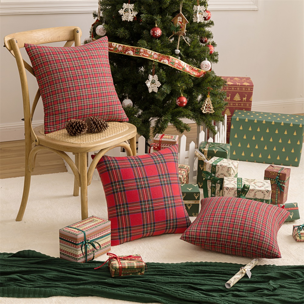 1 2 4 Pcs Square Pillow Cases Christmas Scottish Tartan Plaid Cotton Polyester Throw Waist Couple