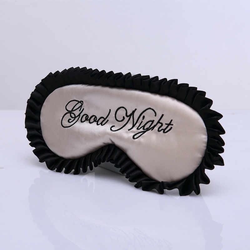 Máscara de ojo de dormir de seda suave dúplex de 5 colores personalizada con letras de buenas noches impresas para relajar el viaje máscara de parche de ojo envío gratis