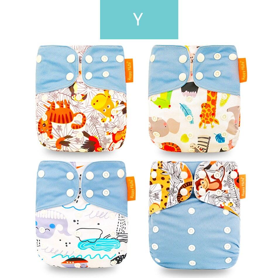 Happyflute 4 шт./компл. моющиеся экологически чистые тканевые подгузники; регулируемый пеленки Многоразовые подгузники из ткани подходит 0-2years, на Возраст 3-15 кг для малышей - Цвет: Y only diaper