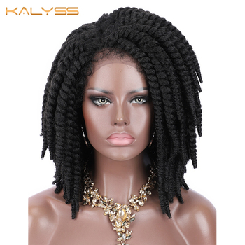 Kalyss Short Braided Wigs for Black Women Cornrow Braids Lace Synthetic Front Wig Baby Hair Side Part - discount item  25% OFF Synthetic Hair