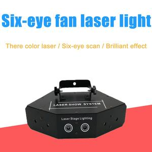 DMX 512 Fan-shaped six-eye scanning RGB Laser Light for DJ Disco Club Stage Event Show Party Effect light with Sound Control(China)