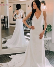Simple Ivory Boho Mermaid Wedding Dresses 2019 Special Halter Neck Sleeveless Cross-Back Beach Bridal Gowns Satin robe de mariee