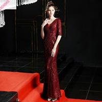 Ukraine Plus Size Polyester Dress New Embroidery For Aura For Queen's Long Slim Noble Banquet Temperament Elegant Fish Tail