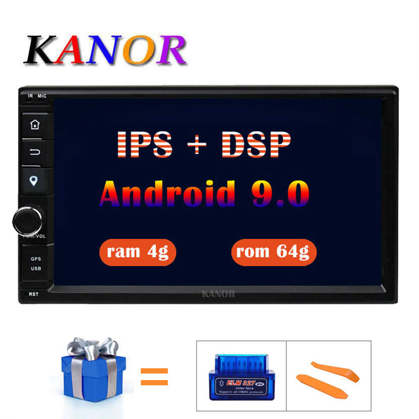 Kanor Octa Core Ram 4G Rom 64G 2 Din Android 9.0 Universal Car Audio Stereo Radio Met Gps wifi Gps Navigatie Video Head Unit