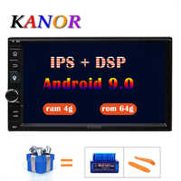 KANOR Octa Core RAM 4G ROM 64G 2 Din Android 9.0 Universal Car Audio Stereo Radio With GPS WiFi GPS Navigation Video Head Unit