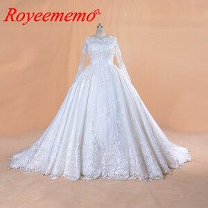 Image 1 - 2020 Full ประดับด้วยลูกปัด TOP งานแต่งงานชุดยาวแขนงานแต่งงานชุดที่กำหนดเองขายส่งเจ้าสาวชุดใหม่ชุดเจ้าสาวชุดบอล