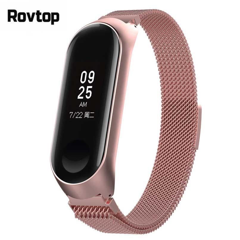 Rovtop Strap For Xiaomi Mi Band 3 Mi Band 4 Strap For Xiaomi Miband 3 Bracelet For Xiaomi Mi Band 4 Magnet Metal Stainless Steel