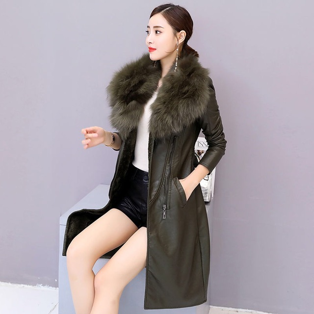 Vangull Women's Leather Jacket for Winter 2019 New Plus Velvet Warm Slim Big Fur Collar Long Leather Coat Female Outerwear M-4XL