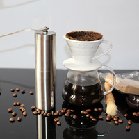 Mini Manual Ceramic Coffee Grinder Stainless Steel Portable Mill Grinder Adjustable Hand Coffee Mill Machine Easy Cleaning 1pc