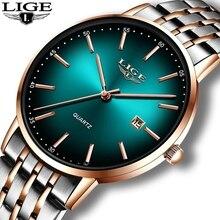New LIGE Rose Gold Women Watch Business Quartz Watch Ladies Top Brand Luxury Female Wrist Watch Girls Clock Relogio Feminin+Box