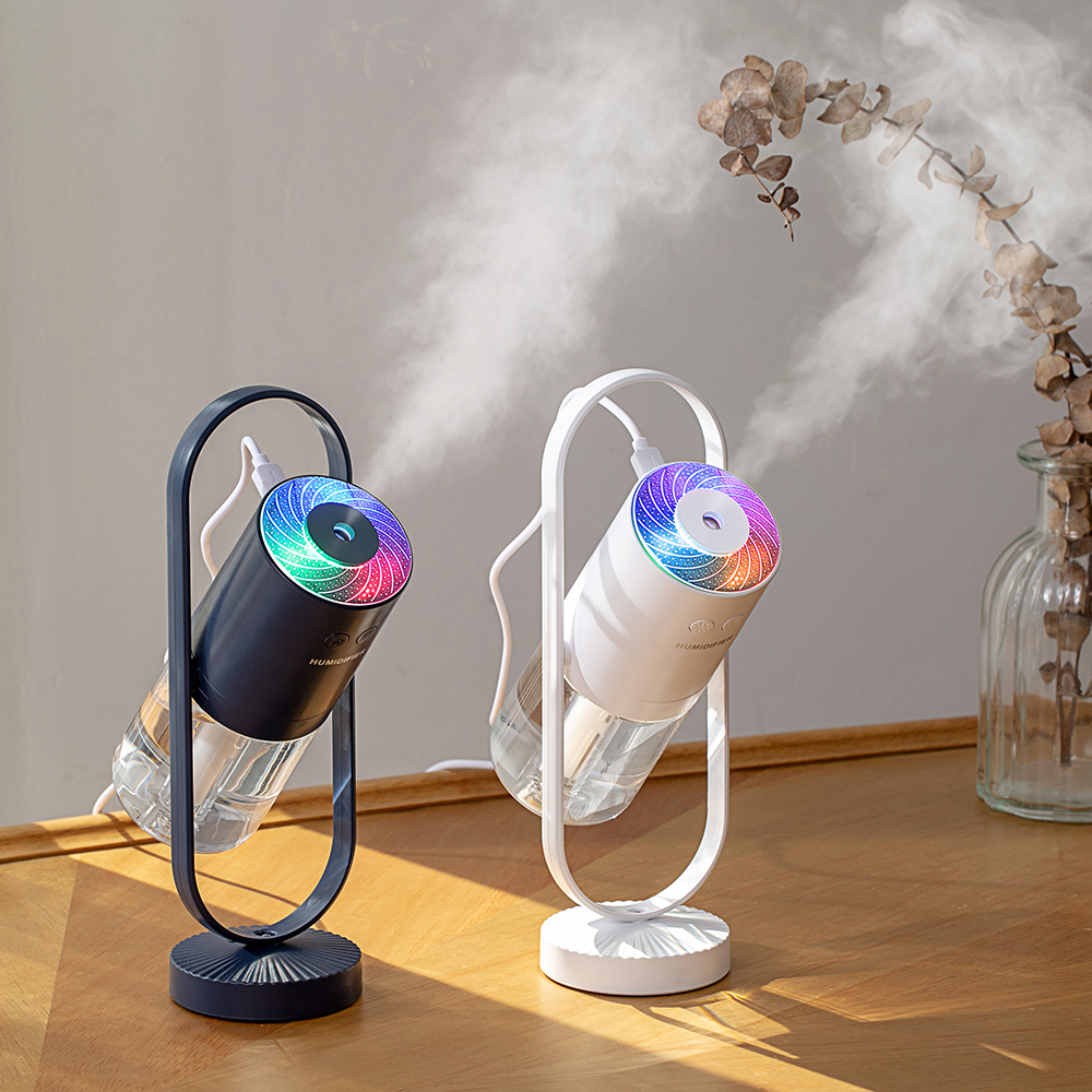 Air Humidifier USB Electric Ultrasonic Essential Oil Aroma Diffuser Freshener Mist Maker 360 Degree Rotating 7 Color Lamp Home