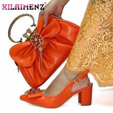 Color Naranja nuevo diseño especial nigeriano mujeres Shoeos Juego de Bolsa De Oficina señora zapatos y bolsa para trabajar