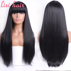LISI HAIR Blonde Long Straight Wig With Bangs Synthetic Hair Wigs Bang With Wig For Woman Black Brown Heat Resistant Wigs(China)