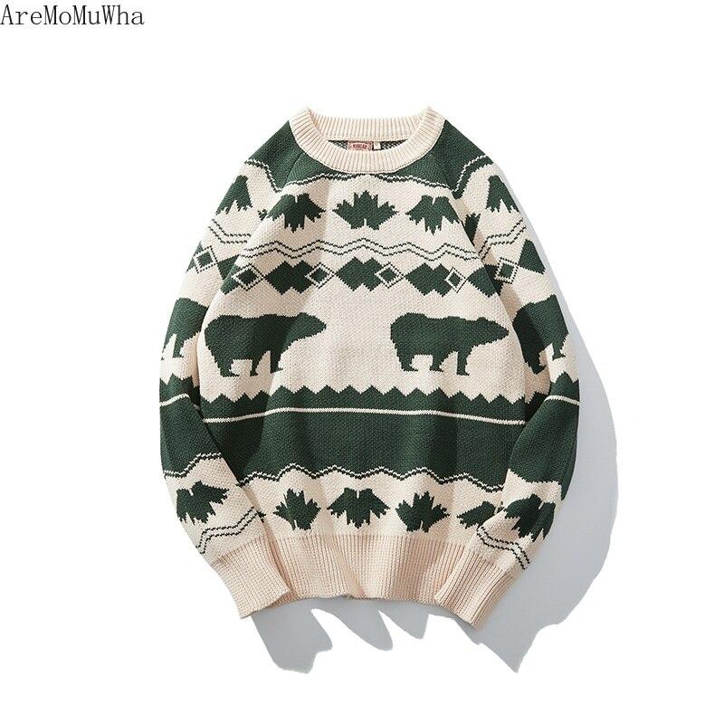 AreMoMuWha 2019 зима новый ретро скандинавский исландский ветер винтажный свитер рукава реглан SlimGreen мужские пуловеры QX1366 - 3
