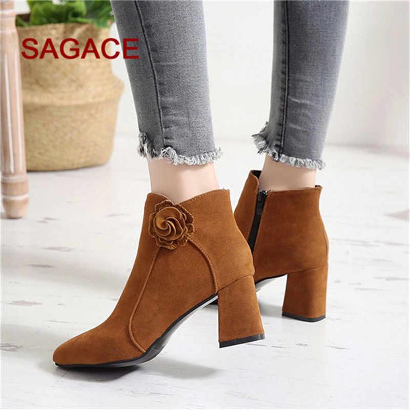 Kadın ayak bileği ayakkabı sonbahar ayak bileği çorap kare orta topuklu kadın sivri burun kısa çizme bayanlar rahat moda ayakkabılar