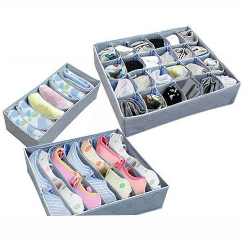 3PCS Drawer Organizer Tie Bra Socks Drawer Cosmetic Container Divider Storage Boxes