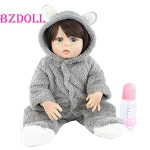 55 CM Full Silicone Body Reborn Baby Doll Toy Girl Boneca Vinyl Newborn Princess Toddler Babies Dress Up Bebe Birthday Gift