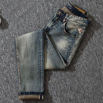 Italian Style Fashion Men Jeans Slim Fit Retro Washed Elastic Vintage Classical Pants Newly Designer