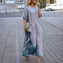 Summer Dress Vestidos Loose Cotton Casual Women Short-Sleeve Linen Female Solid-Color