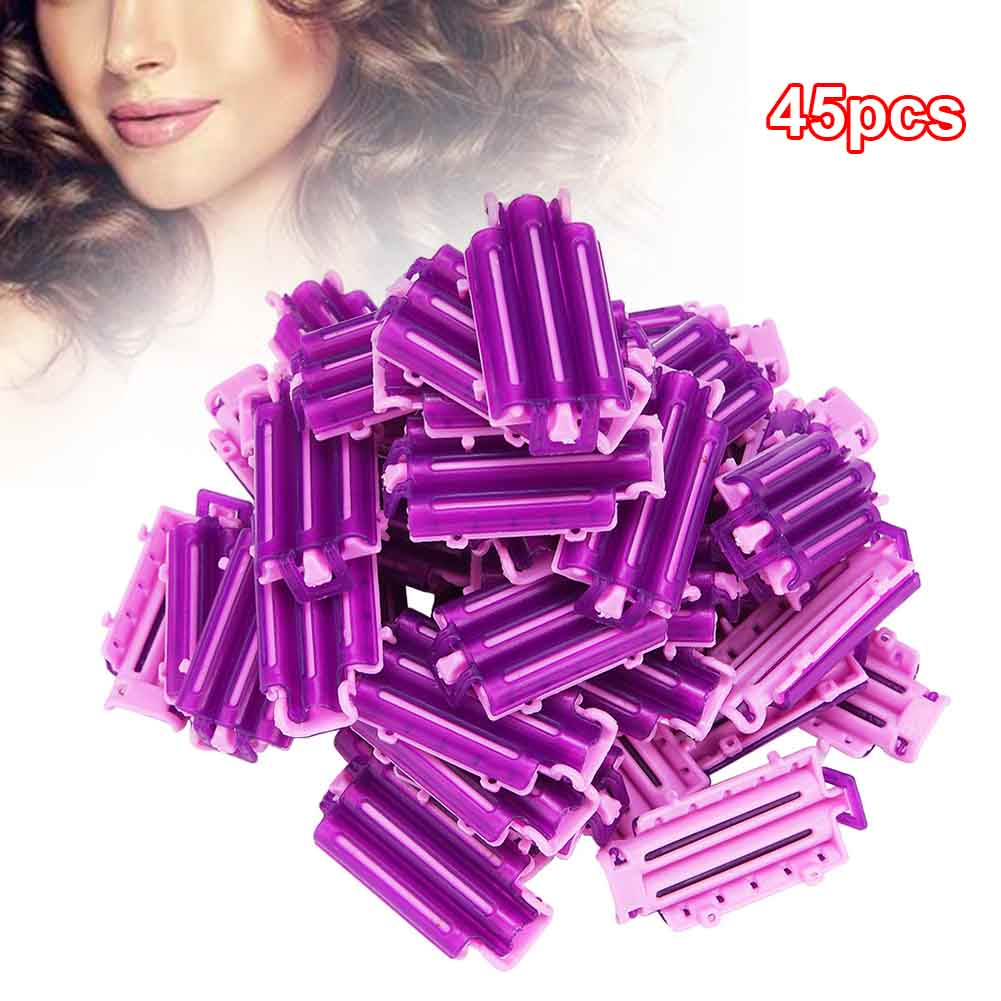 45pcs Home Accessories Salon Tool Bars DIY Styling Fluffy Clamps Rollers Resin Hair Roots Perm Clip Wave Rod Corn Curler