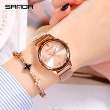 2019 SANDA luksusowej marki panie zegarek kryształowy kobiety ubierają zegarek mody kwarcowy zegarek kobiet ze stali nierdzewnej na rękę 1005