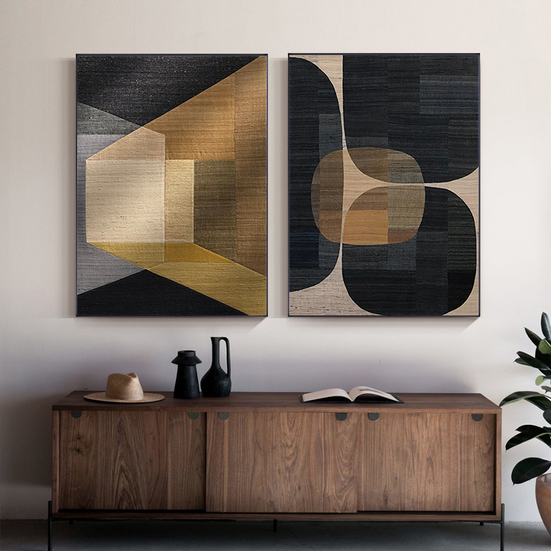 Abstract Colors Combination Canvas Print Paintings Brown Geometric Poster Modern Wall Art Pictures for Living Room Office Decor