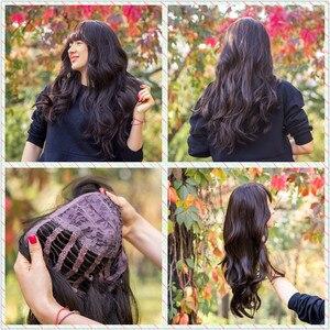 Image 5 - EASIHAIR długie ciemne brązowe damskie peruki z grzywką Water Wave żaroodporne peruki syntetyczne dla czarnych kobiet włosy afroamerykańskie