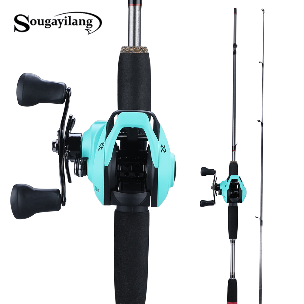 Sougayilang 1.8m Super Light Casting Fishing Rod M Power Lure 2Section Fast Action Fishing Rod Set Lure Weight Casting Reels Set