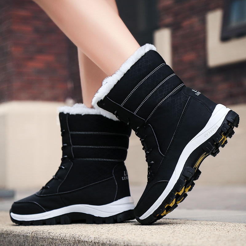 Image 5 - WDZKN 2019 Winter Warm Shoes Women Snow Boots Thick Plush Mid Calf Flat Boots Female Botas Mujer Waterproof Winter Women BootsMid-Calf Boots   -