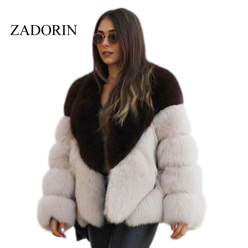 ZADORIN 2019 Winter NEW Warm Women Furry Soft Faux Fur Coat Harajuku Vintage Long Sleeve Plus Size Fluffy Fur Jacket Streetwear