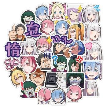 40Pcs Anime RE:ZERO Sticker 3-4 CM Cute Emilia Ram Rem Waterproof Graffiti For Laptop Phone Cup Car Scrapbooking - discount item  44% OFF Classic Toys