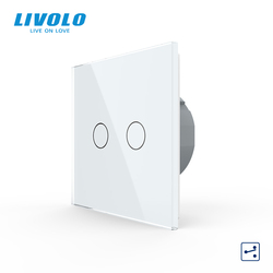 Livolo EU Standard Touch Switch, 2Gang 2Way Control, 7colors Crystal Glass Panel,Wall Light Switch,220-250V,C702S-1/2/3/5