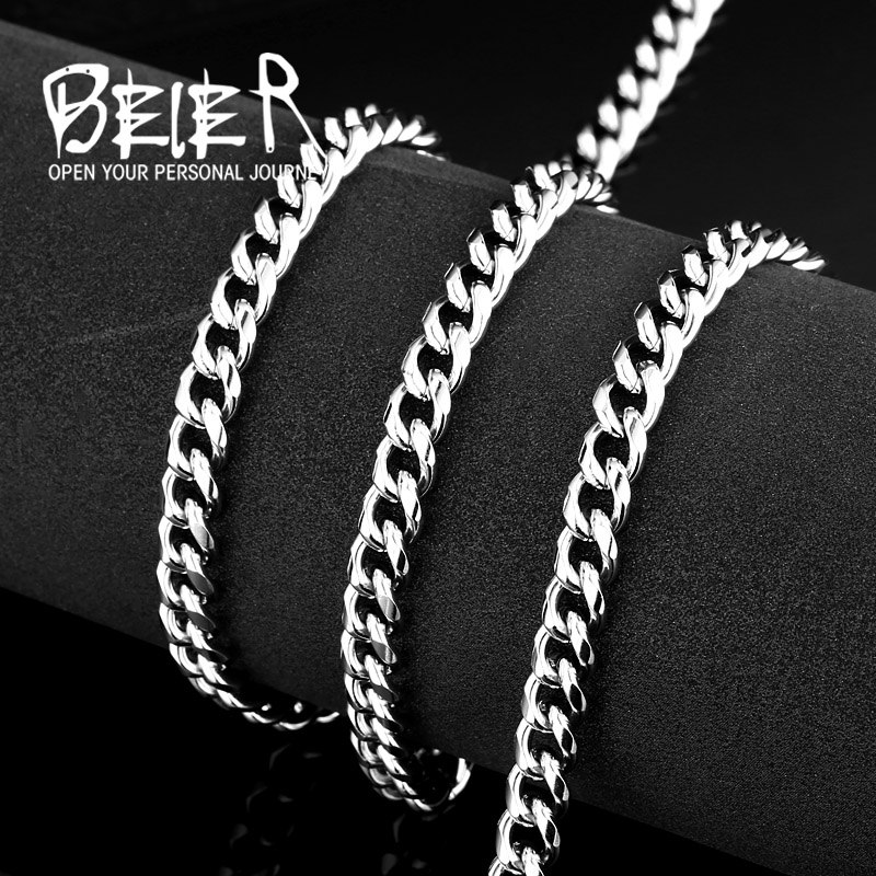 BEIER Filled Solid Necklace Curb Link Men Cuban Chains Choker Stainless Steel Male Female Accessories Fashion BN1030|gold chain necklace|chain necklacenecklace wholesale - AliExpress